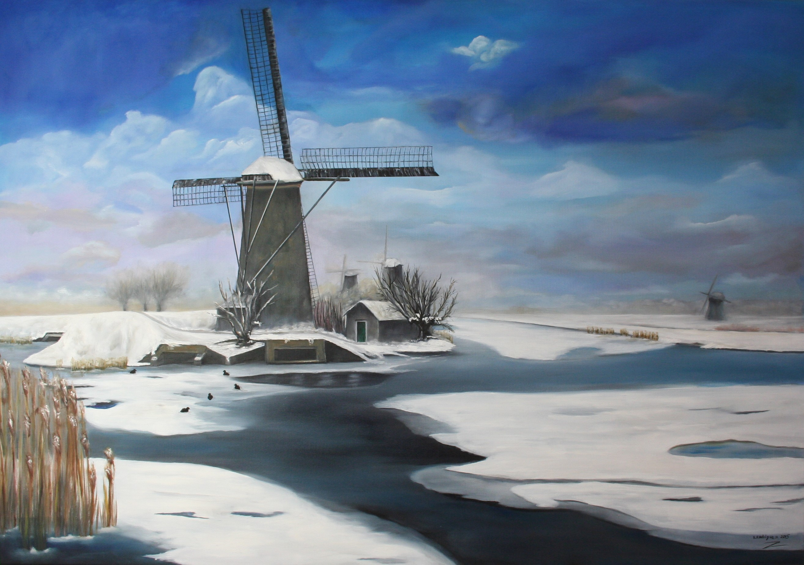 WL 2015 45 70x100 Olie   Molens in de winter